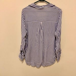 Blu Pepper Tops - Blu Pepper S Two Pocket Blue Striped Button-Down